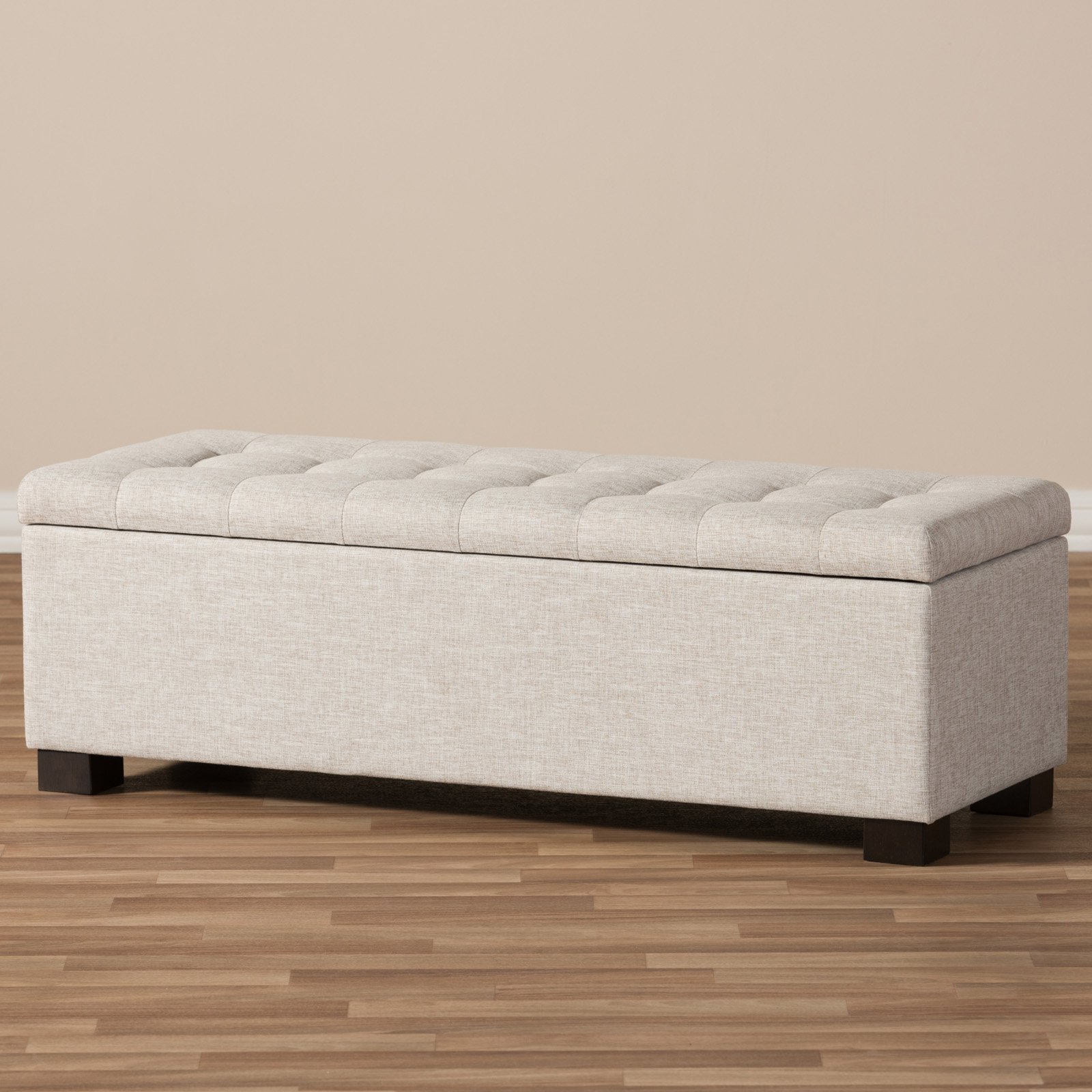 Merveilleux Baxton Studio Roanoke Modern And Contemporary Dark Grey Fabric Upholstered  Grid Tufting Storage Ottoman Bench   Walmart.com