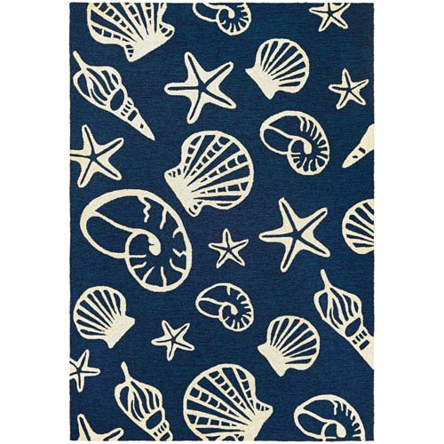 Couristan Outdoor Escape Cardita Shells Navy & Ivory Indoor/Outdoor Rug, 2'x4'