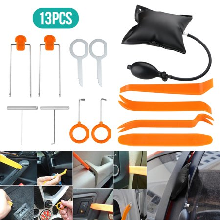 13-pack Car Panel Removal Open Pry Tool Kit, Dash Door Radio Trim Pump Wedge Auto Trim Upholstery Removal Kit for Door Trim Molding Dash Panel ()