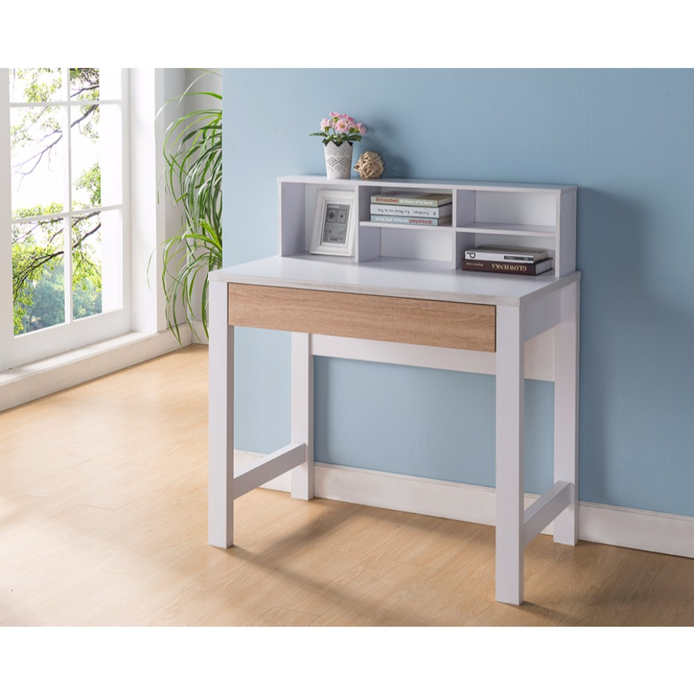 Contemporary Style Desk With Pull Out Drawer, White and Brown