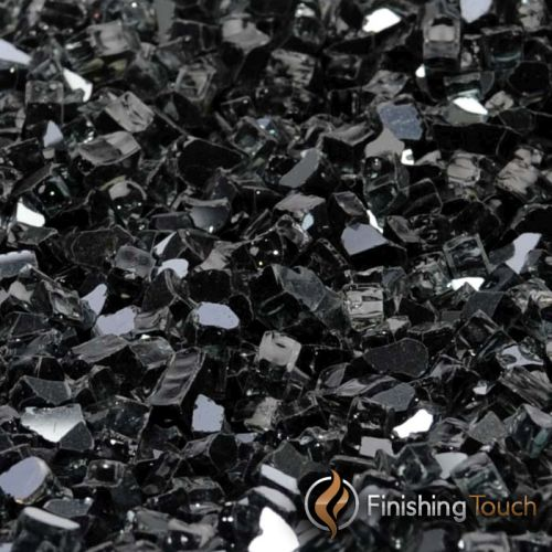 "8 Pound Container of 1/4"" Onyx Black Metallic Fireglass"