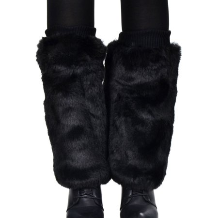 Women's Soft Furry Boot Cuff Leg Warmers, 11.5, Black - Furry Boots For Girls