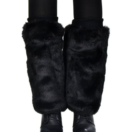 Women's Soft Furry Boot Cuff Leg Warmers, 11.5, Black](Cheap Furry Leg Warmers Boot Covers)