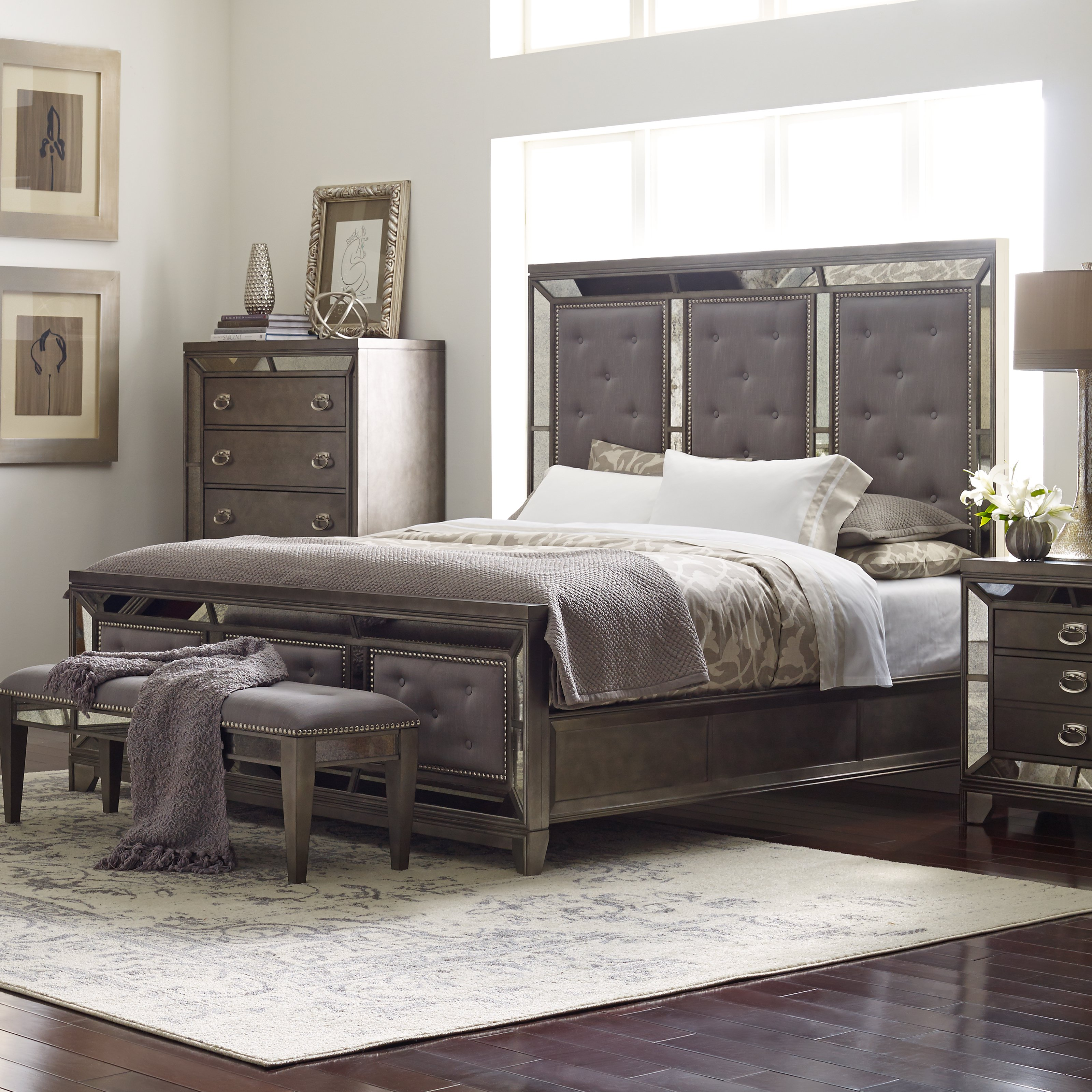 Beau Avalon Furniture Lenox Upholstered Panel Bed   Queen