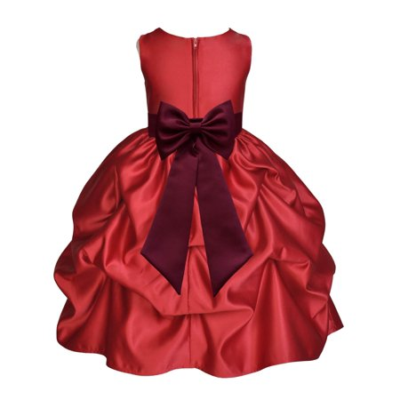Ekidsbridal Satin Bubble Pick-up Apple Red Flower Girl Dress Christmas Weddings Summer Easter Dress Special Occasions Pageant Toddler Clothing Holiday Bridal Baptism 208T Burgundy size 6](Pink Hot Girl)