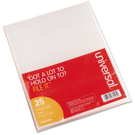 (3 Pack) Universal Project Folders, Jacket, Poly, Letter, Clear, 25/Pack - Ultra Clear Letter