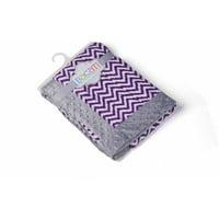 Bacati - Ikat Zigzag with Grey Border 30 x 40 inches Plush Blanket, Purple/Grey