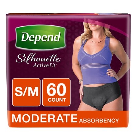 Depend Silhouette Active Fit Incontinence Briefs for Women, Moderate Absorbency, S/M, 60