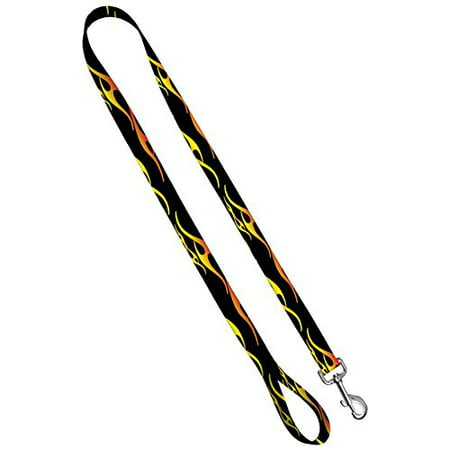 Deluxe Dog Leash: Hot Rod Flames, 1 inch by 4 feet Sublimated Polyester by Moose Pet Wear