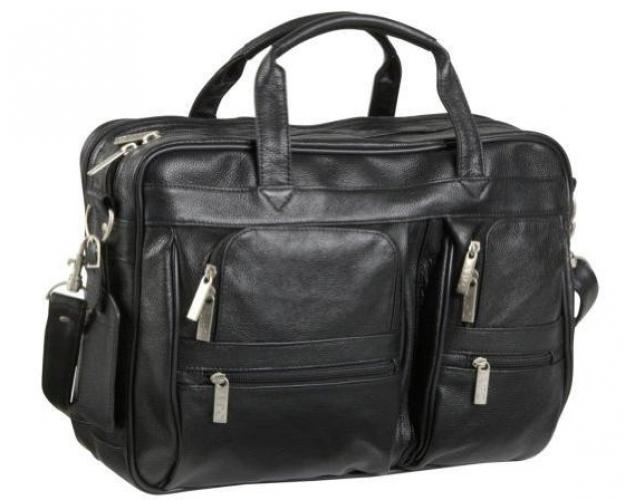 Black Leather Business Briefcase by Overstock