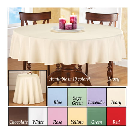 Basic 70 Inch Round Tablecloth White