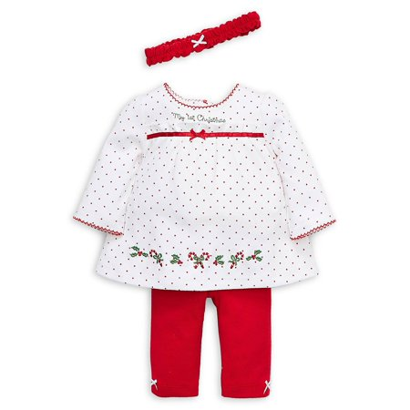 Baby Girl's Holiday 3-Piece Cotton Dress, Leggings & Headband Set