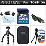 32GB Accessory Kit For Toshiba Camileo S30 S20 BW10 HD Pocket Camcorder Includes 32GB High Speed SD Memory Car ()