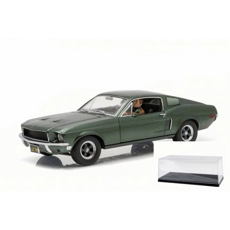 Diecast Car & Accessory Package - Steve McQueen Bullitt 1968 Ford Mustang GT, Green - Greenlight 12938 - 1/18 Scale Diecast Model Toy Car w/display case