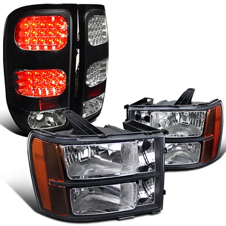 Gmc Sierra 1500 2500hd 3500hd Black Headlights Rear Led Tail Lamps