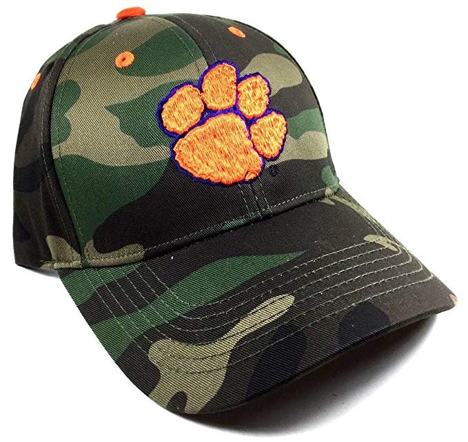 "NCAA Clemson Tigers ""Woodland Hunting Camo"" Cap Velcro Back"