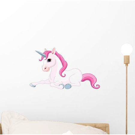Euro Graphic Decal Sticker (Adorable Unicorn Wall Decal Sticker by Wallmonkeys Vinyl Peel and Stick Graphic for Girls (12 in W x 7 in H) )