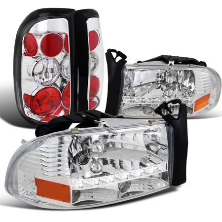 Euro Tail Lamps Crystal - Spec-D Tuning 1997-2004 Dodge Dakato Euro Crystal Chrome Headlights + Clear Rear Tail Brake Lights (Left + Right) 97 98 99 00 01 02 03 04