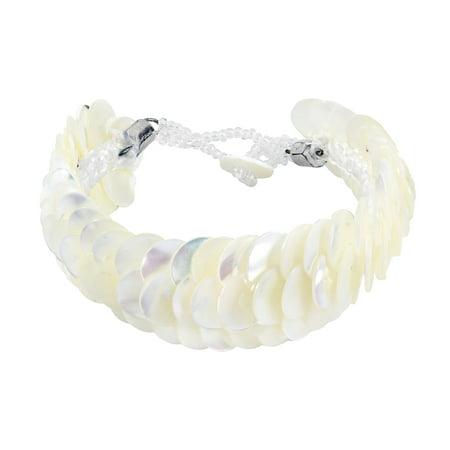 Infinity Layered White Troca Seashells Handmade Bracelet