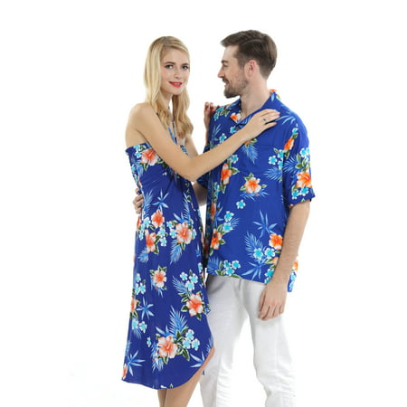 Couple Matching Hawaiian Luau Cruise Party Outfit Shirt Dress in Hibiscus Blue Men S Women M - Homecoming Couples Outfits