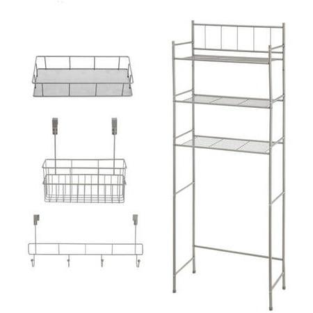 Mainstays 4-Piece Bathroom Storage Set Includes 3-Shelf Over the Toilet Space Saver, Wire Storage Basket, Over the Door Hooks, Hanging Basket Organizer, Satin Nickel ()