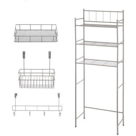 Mainstays 4 Piece Bathroom Storage Set Satin Nickel