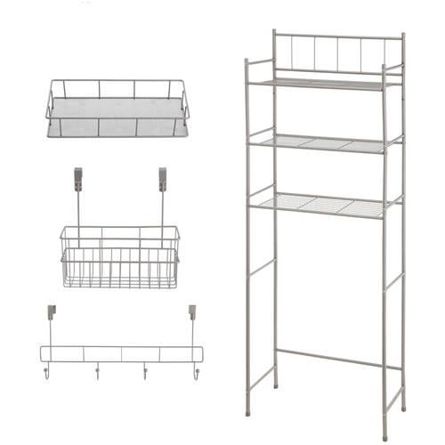 Mainstays 4-Piece Bathroom Storage Set - Satin Nickel
