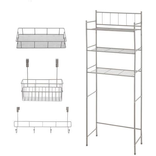 Mainstays 4 Piece Bathroom Storage Set In Satin Nickel Finish Walmart Com Walmart Com