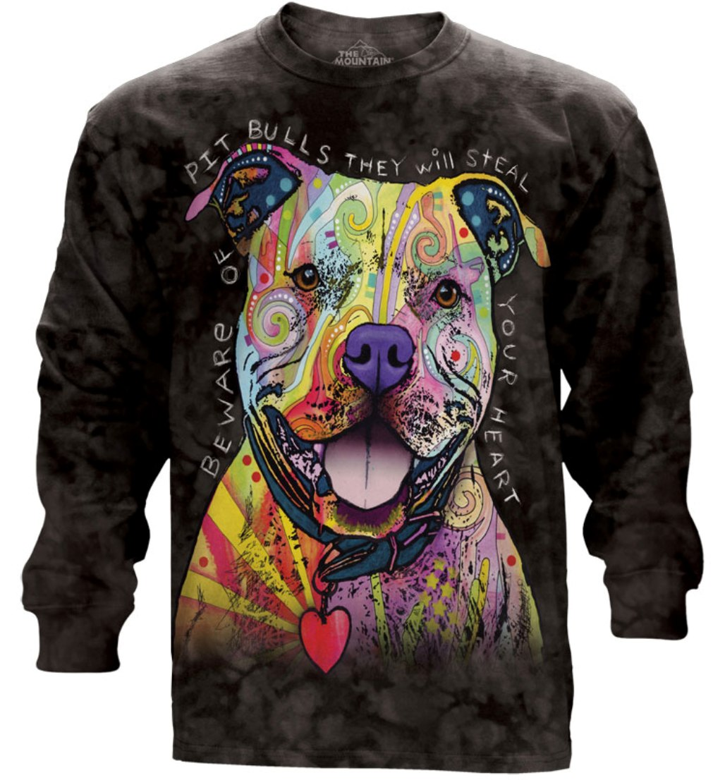 The Mountain Black Cotton Beware Of Pit Bulls Ls Adult Long Sleeve T-Shirt (M)
