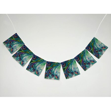 GCKG Flawless Peacock Feathers Banner Bunting Garland Flag Sign for Home Family Party - Peacock Party