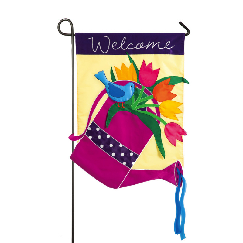 Garden Applique Watering Can Flag, 12.5X0.15X18 Inches