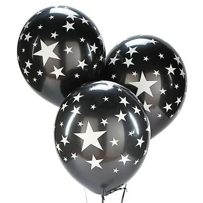 IN-70/5602 Black Latex Balloons with Silver Stars 25 Piece(s)