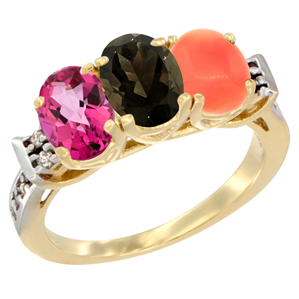 10K Yellow Gold Natural Pink Topaz, Smoky Topaz & Coral Ring 3-Stone Oval 7x5 mm Diamond Accent, sizes 5 10 by WorldJewels