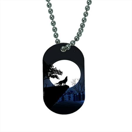 KuzmarK Pendant Dog Tag Necklace - Wolf Full Moon Mountain - Wolf Pendant