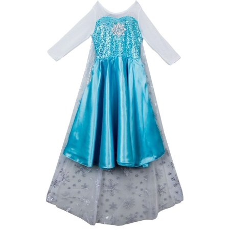 Wenchoice Girls Blue White Elsa Cape Dress Halloween Costume (Elsa Hosk Halloween)