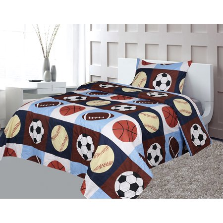 Golden Linens Twin 3 Pieces ( Fitted, Flat Sheet and Pillow Case) Printed Printed Navy Blue, Sky Blue, Brown, Orange Kids Sports Basketball Football Baseball Kids Sheets Bed Cover #