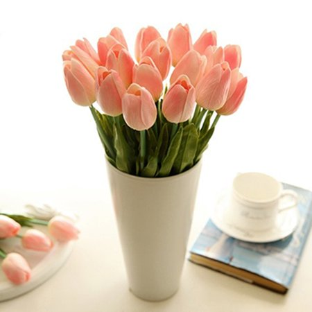 Mother's Day Gift Pink Fake Tulip 1 Bouquet 10 Heads Artificial Silk Flower For Home Decoration Wedding -