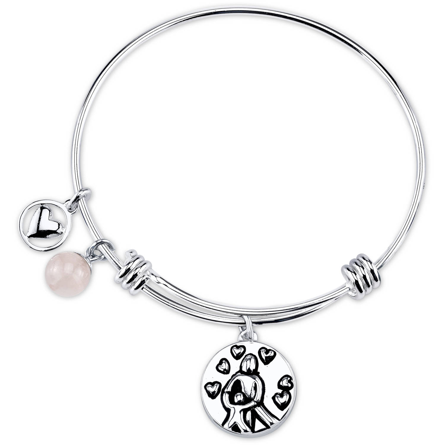 "Stainless Steel Expandable ""A Mother Holds Her Child's Hand"" Bangle Bracelet"