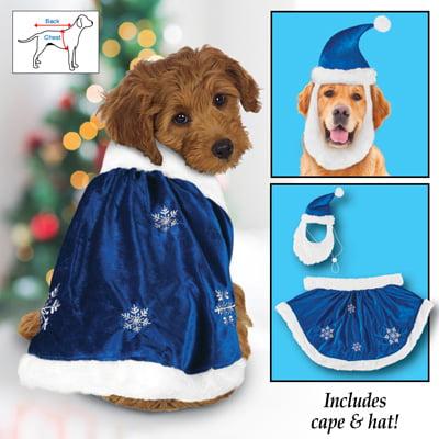 Christmas Velvet Winter Snowflake Dog Outfit, Medium for $<!---->