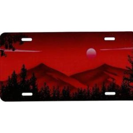 Mountains on Red Airbrushed License Plate Free Names on this Air Brush