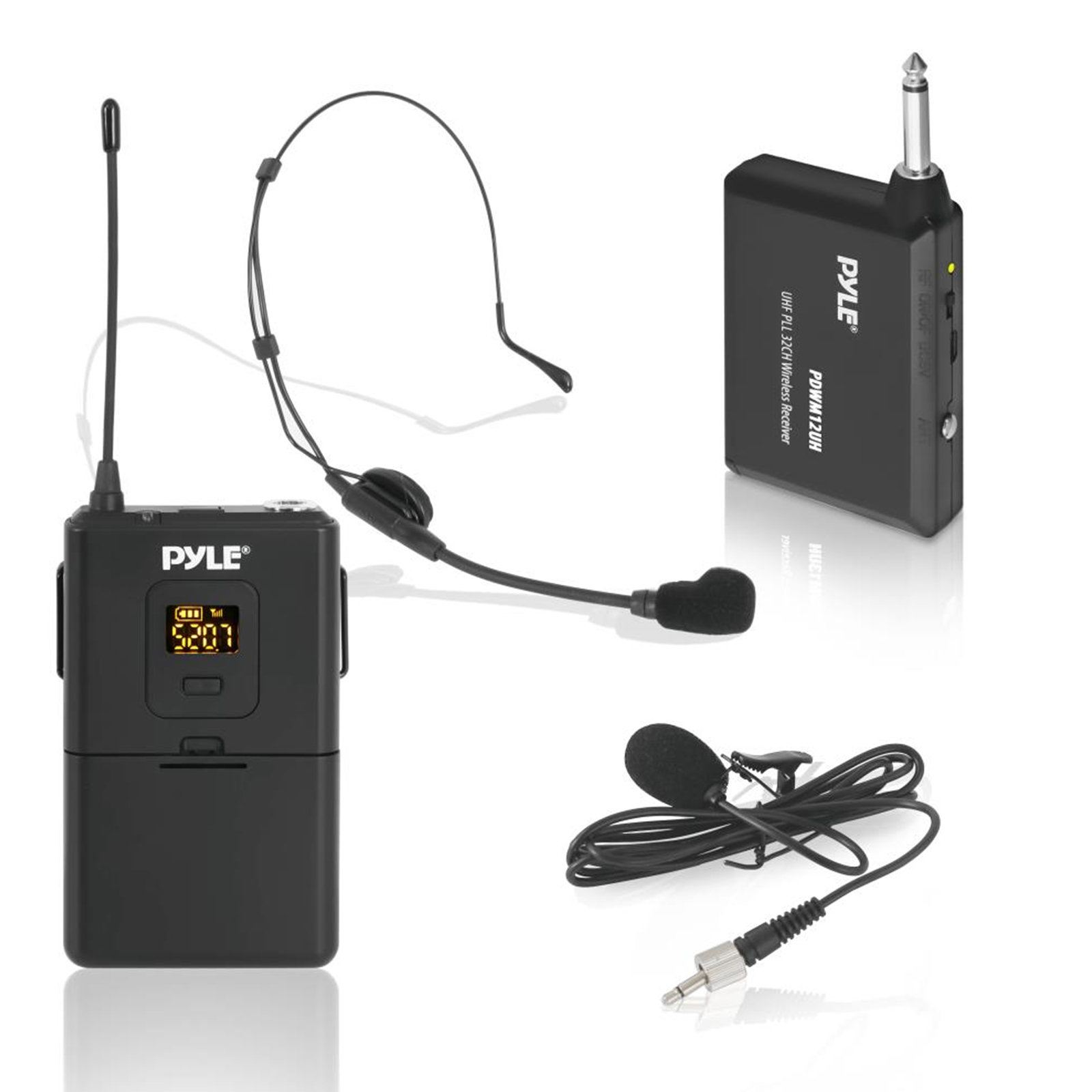 Pyle Wireless Microphone System, Beltpack Transmitter with Headset & Lavalier Mics