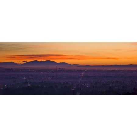 Image of Elevated view of buildings in city East Los Angeles San Bernardino Mountains Los Angeles County California USA Canvas Art - Panoramic Images (36 x 12)