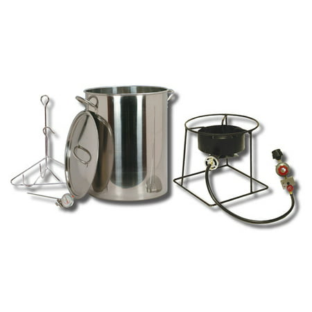 King Kooker #SS1267 - 30 qt Stainless Steel Turkey Frying Propane Outdoor Cooker Package with Battery Operated - Heavy Duty Propane Outdoor Cooker