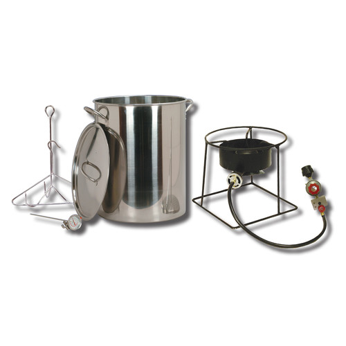 King Kooker #SS1267 - 30 qt Stainless Steel Turkey Frying Propane Outdoor Cooker Package with Battery Operated Timer