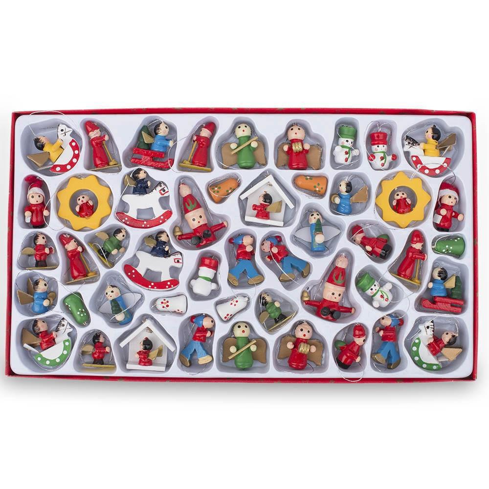 Set of 48 Santa Claus, Snowman, Angels Miniature Wooden Christmas Ornaments
