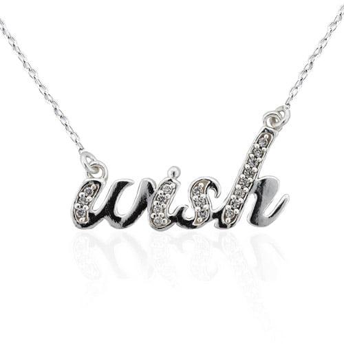 "CZ Sterling Silver ""Wish"" Pendant, 18"""