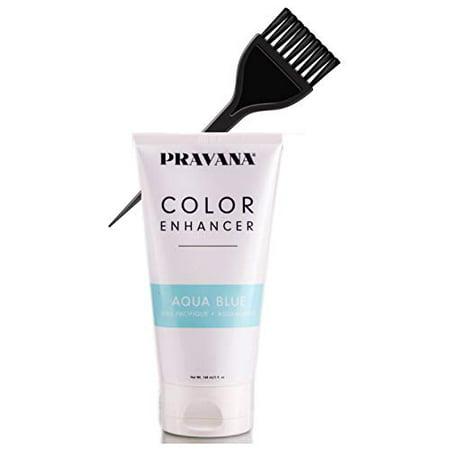Pravana Color Enhancer, Temporary Color-Depositing Conditioner (w/Sleek Tint Brush) Haircolor Hair Dye (AQUA BLUE)