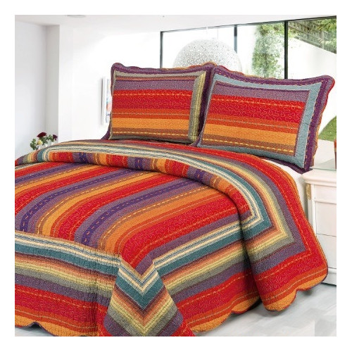 Home Sensation Stripe 2 Piece Twin Quilt Set