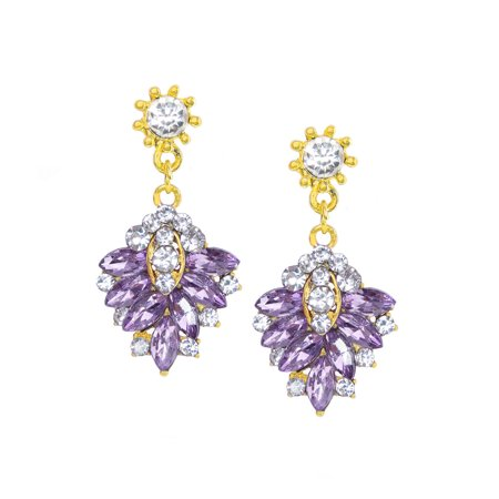 Purple Dangle Earrings For Women Gemstone Gold Ear Rings Las Fashion Jewelry Online