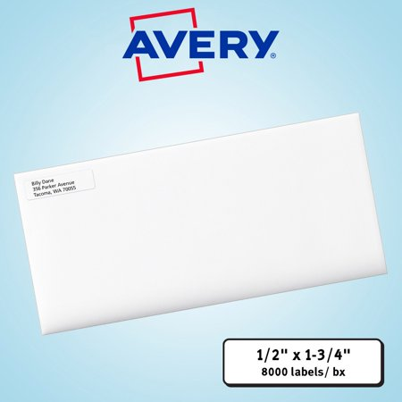 avery easy peel laser mailing labels 1 2 x 1 3 4 white 8000ct